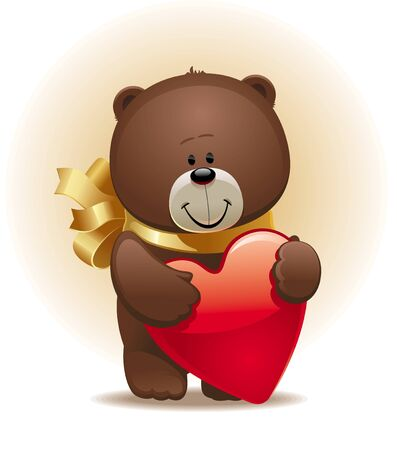 Valentines vector illustration with small cute bear with bow & heart Vector