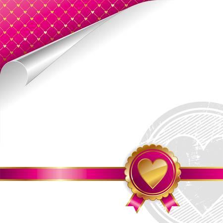 medal ribbon: Valentines luxury vector design with golden seal heart Illustration