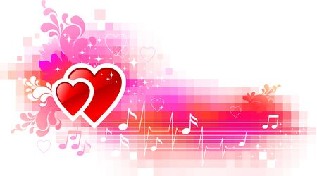 Valentines vector background with hearts Stock Vector - 9946652