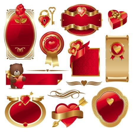 Valentines vector Set mit kunstvollen goldenen Luxus Rahmen & Herzen Illustration