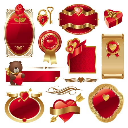 corazon: Valentines vector set with ornate golden luxury frames & hearts Illustration