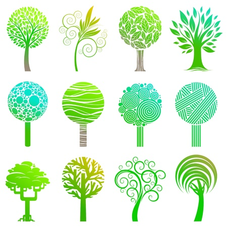 leaf logo: Vecrot set of trees emblem & logos Illustration