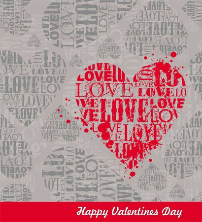 grunge heart: Vector abstract Valentines seamless background