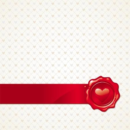 tampon cire: Vecteur abstraite Valentines fond avec cachet de cire coeur d'�tanch�it� Illustration
