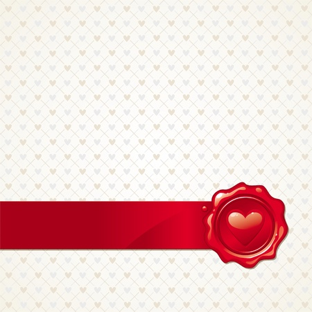 corazon: Vector abstract Valentines background with heart sealing wax stamp Illustration