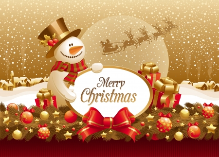 snowman christmas: Vector christmas illustration with snowman, gift & frame for text