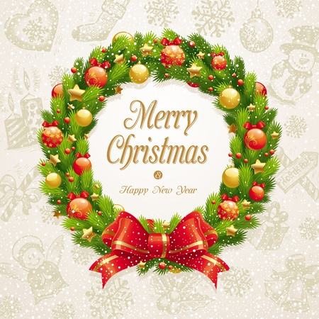 weihnachten zweig: Vektor-Weihnachtskranz mit Bogen & Kugeln gegen eine Hand gezeichnet Hintergrund
