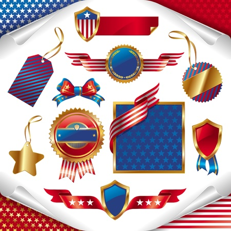 heading: Vector collection of usa patriotic signs, labels, tags  and emblem