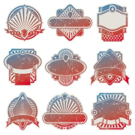 banderas america: Colecci�n de vectores de etiquetas vintage de Estados Unidos