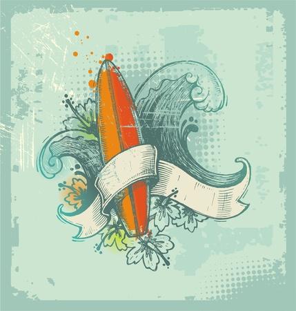 surfboards: Vector hand drawn surfing emblem