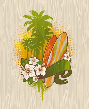 surf board: Vector illustration - Tropical surf emblem painting on a wood board