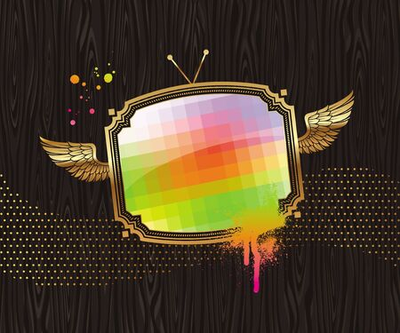 Vector illustration - pixelated TV screen in vintage golden winged frame on a black wood background Vector