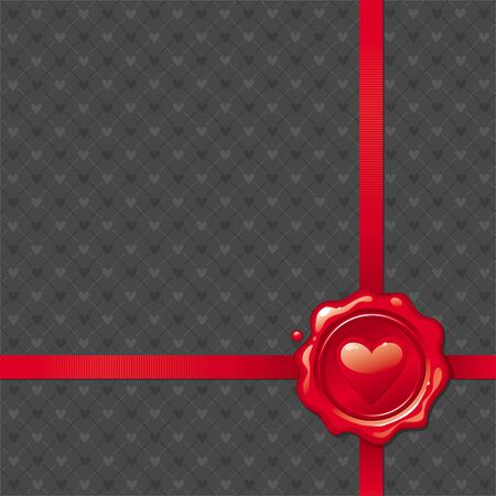 Vector illustration with Valentines sealing wax stamp Vector