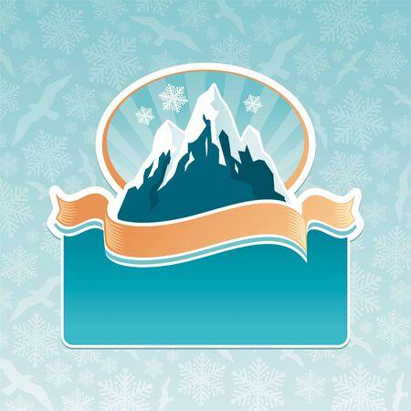 snow mountain: Vector mountain landmark emblem Illustration