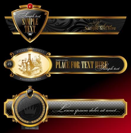shield emblem: Vettoriali ornate cornici decorative dorate Vettoriali