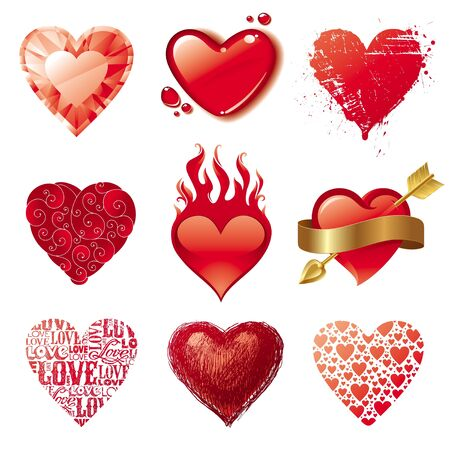 corazones: Vector set of different Valentines hearts