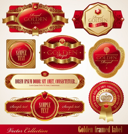 Vector set of golden luxury ornate frames Vector