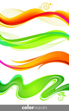 swirl border: Vector set of colorful waves