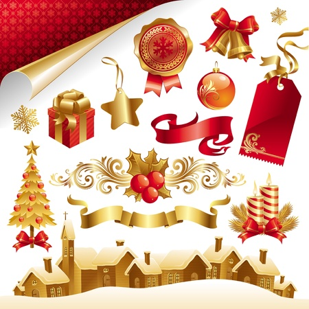 baubles: Vector set with Christmas symbols and objects