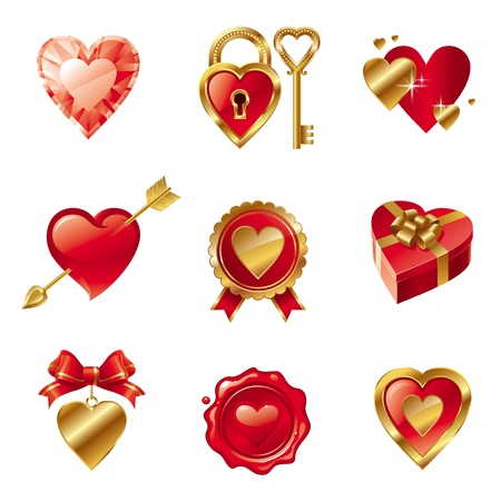 red wax seal: Vector set with Valentines signs and symbols Illustration