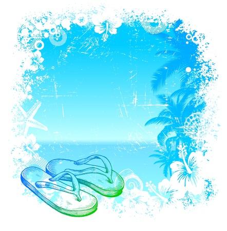 verano: Fondo tropical vectorial con mano dibuja pantuflas de playa
