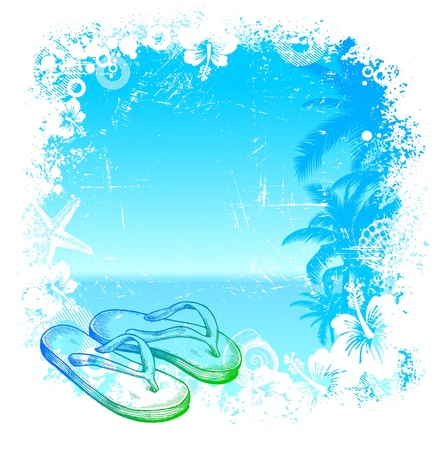 hawaii islands: Vector tropical background with hand drawn beach slippers Illustration