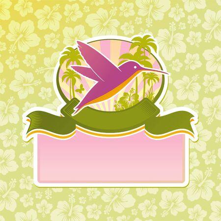 palmtrees: Vector tropical travel emblem Illustration