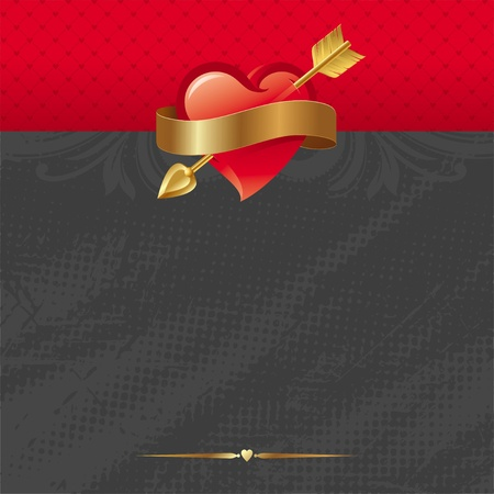 Vector Valentines card with Heart pierced by an arrow & belted a golden ribbon Stock Vector - 9953416