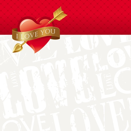 corazon: Vector Valentines card with Heart pierced by an arrow & belted a golden ribbon