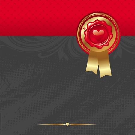 tampon cire: Carte de Valentins vecteur avec cachet de cire de scellement et golden trim & rubans