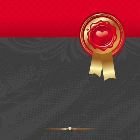 corazon: Vector Valentines card with sealing wax stamp and golden trim & ribbons Illustration