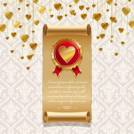 ribbons hang: Vector valentines illustration with vintage scroll & golden badge with hearts