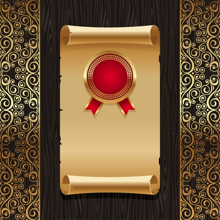 Vector vintage paper scroll with golden seal on a black wood texture backround with ornate gold patterns Vector