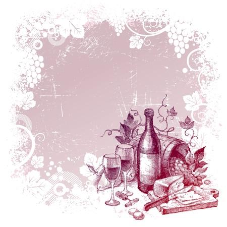 kaas: Vector grunge achtergrond met vintage wijn stilleven