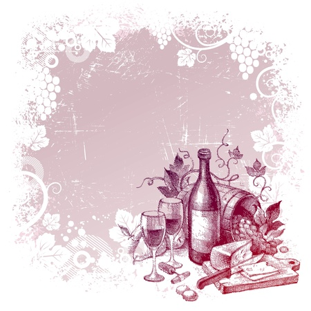 red grape: Vector grunge background with vintage wine still life Illustration