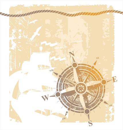 navire: Rose des vents vintage Vectot