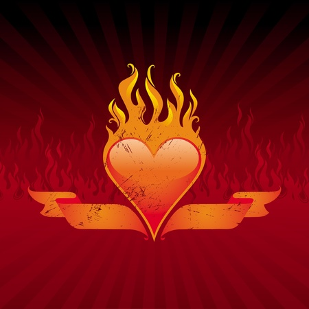 corazon: Vector illustration - Vintage flaming heart and ribbons