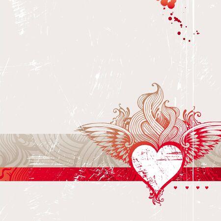 flaming heart: Vintage hand drawn flaming heart - vector illustration