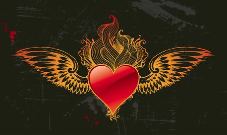 corazones: Vintage winged vector heart