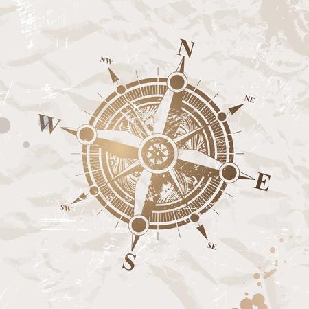 reise retro: Jahrgang Papier mit Kompass Rose - Vektor-illustration