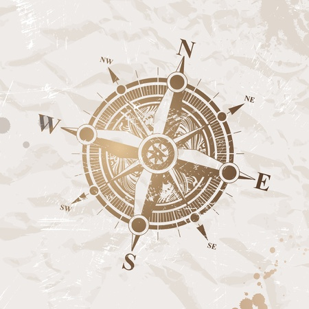 ancient map: Vintage paper with compass rose - vector illustration
