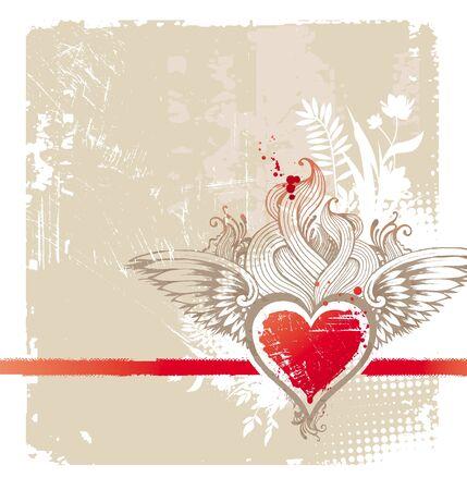 wings grunge: Vintage winged heart - vector illustration