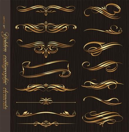 Elementos de diseño de oro vector caligráficas sobre una madera negro textura de fondo