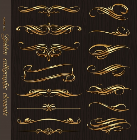 flourishes: Golden calligraphic vector design elements on a black wood texture background