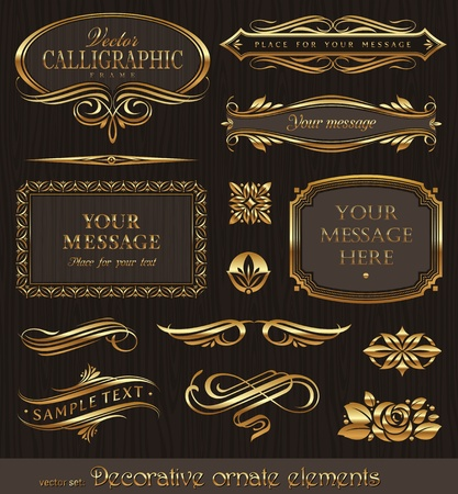framed: Golden decorative vector design elements & page decor