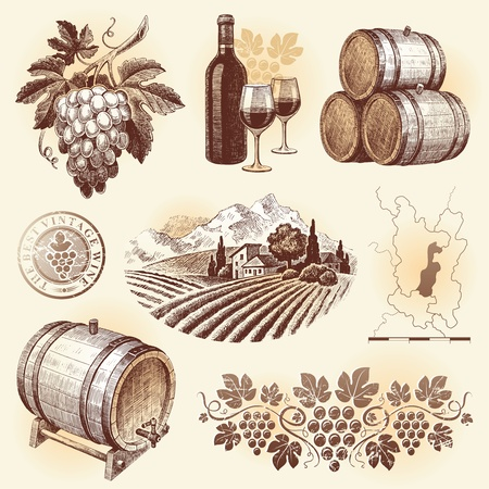 cask: Hand drawn vector set - wine and winemaking