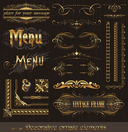 Ornate golden design elements & page decor Vector