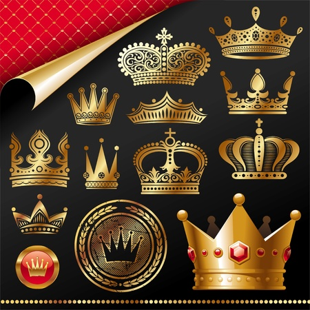golden crown: Conjunto de vectores - elemento de dise�o real dorada