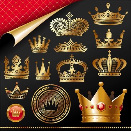 couronne royale: Vecteur set - �l�ment de design royal Golden