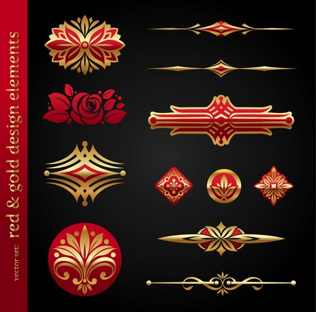 dingbats: Red & gold luxury vector design elements